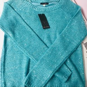 Ella Moss Aqua Holiday sweater size12